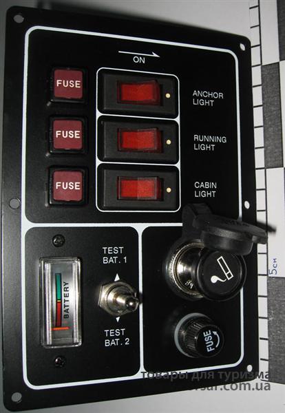 Панель SAIL на 3 выключателя с прикуривателем 256-05005-00